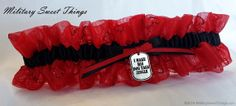 "Valentines Day Red Heart Organza Garter with Dog Tag Charm ""I MAKE HIS DOG TAGS JINGLE"" made  by MilitarySweetThings,"