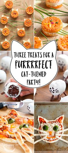 Throw a cat-themed party, with food as cute as it is delicious. The treats include a smiling cat pizza with breadstick whiskers, adorable kitty rice cakes, and wonderful little chocolate kitty cake pops to finish.
