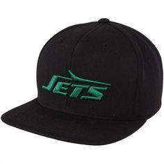 3347fbab586 Mitchell   Ness New York Jets Throwback Basic Vintage Logo Snapback Hat -  Black