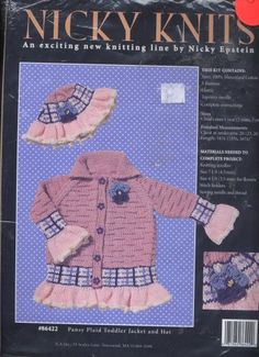 Nicky Knits Pansy Plaid Toddler Jacket and Hat 86442 Knitting Kit - I Crochet World Crochet World, Knit Crochet, Knitting Kits For Beginners, Baby Kit, Kits For Kids, Pansies, Knits, Christmas Stockings, Sewing Crafts