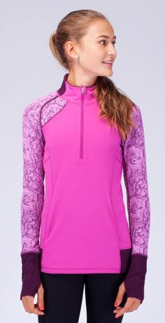 Lululemon Ivivva Shirt Go The Distance Pullover Top Purple/Pink Zip 12 Athletic Outfits, Athletic Wear, Sport Outfits, Girl Outfits, Cute Outfits, Athletic Clothes, Fitness Fashion, Fitness Clothing, Fashion 2018
