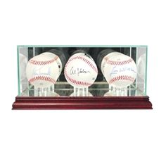 Our Triple Baseball Display Case is a UV protected sports display case that is made of glass and mirror and supported by our beautiful real wood moulding.  #baseball #MLB #collection #memorabilia #collectible #team #display #displaycase #PerfectCases
