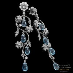 Carl Blackburn ~ Garden of Eden earrings in white gold, featuring 8 one carat aquamarine drops surrounded by carats of diamonds. Indian Jewellery Design, Indian Jewelry, Silver Jewelry, Unique Jewelry, Aquamarine Earrings, Diamond Gemstone, Diamond Earrings, Jewelry Design Earrings, Ring Earrings