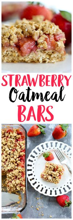 Strawberry Oatmeal Bars recipe. This is a healthy breakfast, snack, OR dessert recipe that is vegan and gluten-free and low sugar.