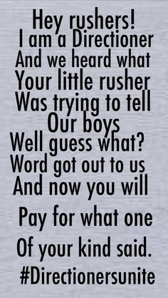 Yeah. Niall does belong in 1D Zayn is NOT a terrorist Liam is perfect and I wouldn't know about his kidney if he didn't tell us, and Larry is NOT gay. Rushers, you are low