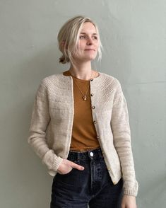 Ankers Cardigan - My Size – PetiteKnit Hand Knitted Sweaters, Sweater Knitting Patterns, Beige Cardigan, Knit Cardigan, Camilla, Circular Needles, Ethical Clothing, Work Tops, Raglan