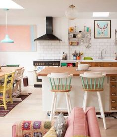 Pastel candy colours kitchen and kitchen counter. Love the barstools