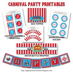 Paper Perfection: Carnival - Circus Birthday Party Printables  (not free...but some fun ideas to pull from)