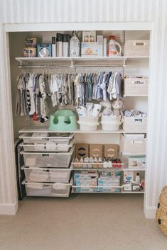 Nursery Closet Makeover: Elfa Closet System and Nursery Organization! Nursery Closet Makeover: Elfa Closet System and Nursery Organization! Baby Nursery Organization, Baby Nursery Decor, Baby Bedroom, Baby Boy Rooms, Baby Boy Nurseries, Baby Nursery Closet, Babies Nursery, Nursery Storage, Baby Stuff Organization