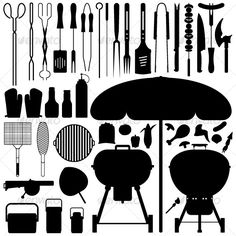 Barbecue BBQ Silhouette Set Vector  #GraphicRiver         A big set of all the necessary equipment for barbecue (BBQ) in silhouette vector.   This include the grilling equipments, umbrella (to shield from rain and sun), food, air blower, and containers.   These graphics are very suitable for BBQ and kitchen retailers for brochure and banner printing.