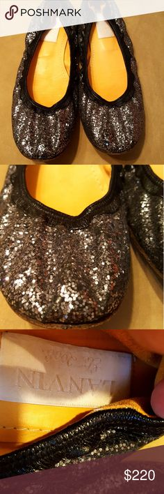 Lanvin silver ballet flats Lanvin silver glitter ballet flats are comfortable and have a lot of fun left in the.  Perfect with jeans or silk. There is wear on the soles; more on the heels.  Sparkly top is perfect! Lanvin Shoes Flats & Loafers