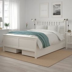 HEMNES Bed frame with 4 storage boxes, white stain, Luröy