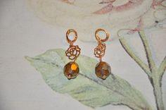 Crea Copine Collection - Earrings with rosé rose and crystal beads - Unique and handmade - Ordernumber CC-14-010 (Oorbellen met rosé roos en kristallen kralen - Uniek en handgemaakt - Bestelcode CC-14-010) - 15 euro + shipping costs