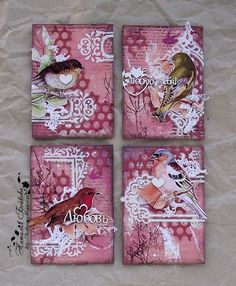 Beautiful mixed media canvases with birds Atc Cards, Card Tags, Paper Cards, Art Journal Pages, Journal Cards, Art Trading Cards, Kirigami, Mixed Media Cards, Artist Card