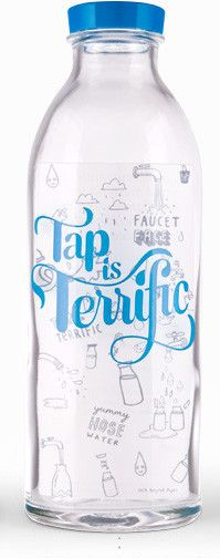 'Tap Is Terrific' Glass Bottle.  Glass bottles 1 for 100 liters of clean water for a family in rural india