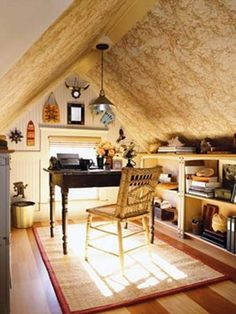 Cozy attic office- what a nice, sunny, place to work. sharonscrapbook