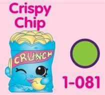 """Crispy Chip (Shopkins 1-081, 1-091) Crispy Chip is a blue bag of yellow potato chips, reading """"CRUNCH"""" in yellow letters. His variant is a light green bag of darker yellow chips, reading """"CRUNCH"""" in dark pink letters. Crispy Chip is a rare Party Food Shopkin from Season One."""