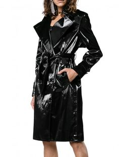 Shop Helmut Lang patent trench coat from our Trench Coats & Raincoats collection. Vinyl Raincoat, Pvc Raincoat, Plastic Raincoat, Patent Trench Coats, Rain Wear, Boutique, Black Fabric, Helmut Lang, Fashion Outfits