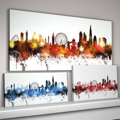 London City Skyline Print by artPause, the perfect gift for Explore more unique gifts in our curated marketplace. Skyline Painting, Skyline Art, Cityscape Art, Canvas Art Prints, Fine Art Prints, London Painting, London Pictures, Pintura Country, Art Plastique