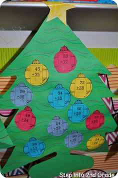 Two Digit Addition Christmas Tree Math Step into 2nd Grade with Mrs. Lemons