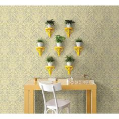 A-Street 56 sq. ft. Gypsy Yellow Damask Wallpaper-1014-001868 - The Home Depot