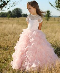 cee857c30 Beautiful White Lace Pink Tulle Short Sleeves Flower Girls Dresses Children  Sheer Neck Tiered Long Cute Girls Pageant Dress Organza And Lace Birthday  Kids ...