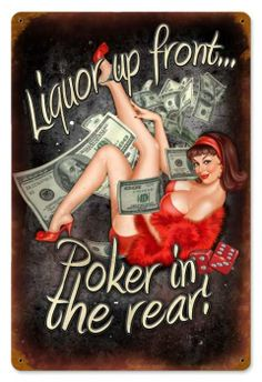 Vintage and Retro Wall Decor - JackandFriends.com - Vintage Poker In The Rear  - Pin-Up Girl Metal Sign, $39.97 (http://www.jackandfriends.com/vintage-poker-in-the-rear-metal-sign/)