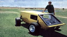 "1977-1980 | Monocoque Engineering Box | Source ""All wheels steer and drive motorcycle-engined amphibian kit car. Desined by Dan Hanebrink and Matt Van Leeuwen """