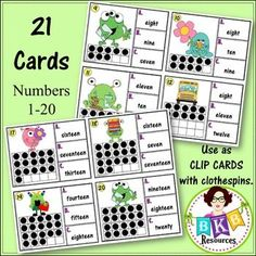 This monster themed ten frame number word recognition Clip It or Task It card set makes for an engaging math center activity for year around fun.  Use this set as clip cards and your students will practice matching the correct number word with the ten frame image on the cards and enhance their fine motor skills at the same time. Just add clothespins and let the fun begin.  Use this set as task cards with the recording sheet and answer key and students can record their answers and self check