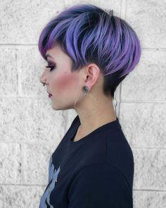 8 Fresh Purple Pixie Cut Ideas for 2020 - Styles Art Dyed Pixie Cut, Purple Pixie Cut, Purple Hair, Edgy Short Hair, Short Hair Cuts, Short Hair Styles, Pixie Hairstyles, Pixie Haircut, Pretty Hairstyles