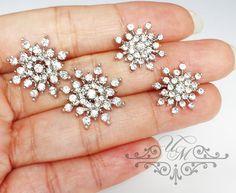 Wedding Jewelry Wedding earrings Rhinestone snowflake earrings Bridal Earrings Bridesmaids Earrings Daugther and Mother - EALD