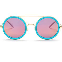 WILDFOX Women's Winona Deluxe Round Sunglasses ($80) ❤ liked on Polyvore featuring accessories, eyewear, sunglasses, round frame glasses, pink mirror sunglasses, grey sunglasses, pink sunglasses and pink lens sunglasses