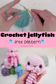 Crochet a cute crochet jellyfish witth this beginner-freindly crochet pattern. The jellyfish is quick and fun to make. Video tutorial and written pattern. Crochet Baby Toys, Crochet Amigurumi Free Patterns, Crochet Animal Patterns, Crochet Blanket Patterns, Cute Crochet, Crochet Crafts, Crochet Projects, Crochet Keyring Free Pattern, Crochet Stuffed Animals