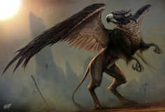 Today I'm posting about one of mankind's most implacable foes - the Griffon . Griffons are large, fierce-looking creatures. Fantasy World, Fantasy Art, Dragons, Legends And Myths, Legendary Creature, Mythological Creatures, Magical Creatures, Cool Drawings, Mythology