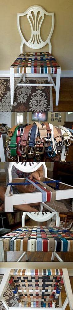 EL MUNDO DEL RECICLAJE: DIY recicla cinturones y tapiza una silla