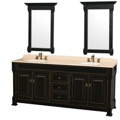 Wyndham Collection Andover Black 80-inch Double Bathroom Vanity with Two 24-inch Mirrors (80-inch Antique Black -