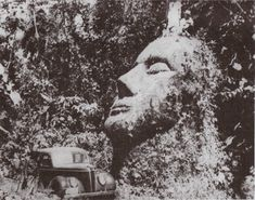 "A stone head that was found ""somewhere in the Guatemalan jungle"" and, soon after its discovery, disappeared. The photo above was taken in the 1950s by the man who owned the land the head was located on, but after he died, the mysterious structure faded back into obscurity. While the head is theorized to potentially be an anomaly of the Olmec stone heads (it does not match their aesthetic), some think it could possibly be a remnant of a yet undiscovered culture."