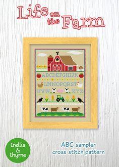 PDF Pattern - Life on the Farm Cross Stitch Pattern, ABC Sampler Cross Stitch Pattern, Farm Sampler Cross Stitch Pattern