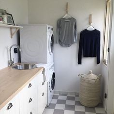 Minimal laundry room with plenty of counter space. Condo Design, Counter Space, Laundry Rooms, Mudroom, Laundry Basket, Pipes, Bathroom Hooks, Countertops, Minimal