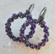 oOo The ALLIUM Corona Earrings oOo hoop earrings with purple amethyst gem stones by EmilyGrayJewels
