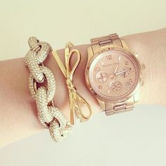 Michael Kors watch, J. Crew Pave Link Bracelet, and gold skinny bow bangle from Kate Spade | thepinkdiary, Instagram