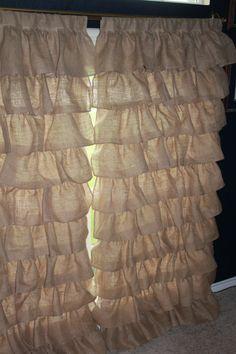 Burlap Ruffle Curtains Full Panel
