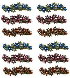 Dozen Packs - 12 Crystal Flower Barrettes, Four Each of 3 Colors YY86450-8-D * See this great product.