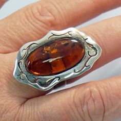 Old BALTIC AMBER RING Sterling silver Ring Big by ANTIQUE4YOU