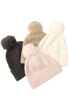 Cashmere Pom Pom Hat – The Cashmere Shop Valentine Day Gifts, Valentines, Cashmere Hat, Pom Pom Hat, Hats For Women, Winter Hats, Gift Ideas, How To Make, Shopping