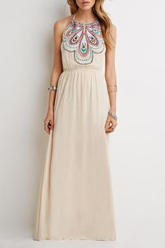 Halterneck Waisted Cotton Floral Embroidery Maxi Dress