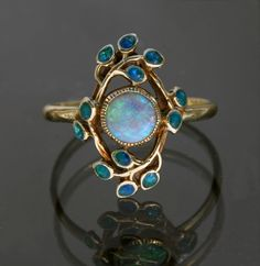 Jessie M. King Liberty and Co Gold Opal and Enamel Ring Opal Jewelry, Turquoise Jewelry, Jewelry Art, Antique Jewelry, Jewelry Gifts, Vintage Jewelry, Jewelry Accessories, Jewelry Design, Fashion Jewelry