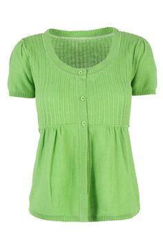 MISTRAL Short Sleeve Knit Embroidered Greengage
