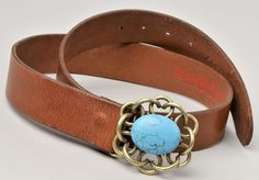 Italian Leather Belt by Lucky Brand Brass & Turquoise Buckle #LineaPelle