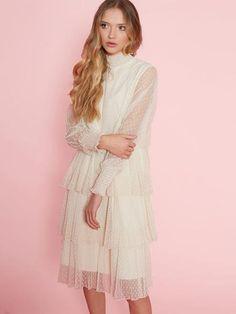Dahlia Eileen Cream Spot Mesh Layered Dress